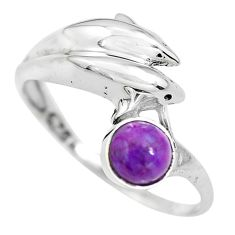 0.81cts purple copper turquoise 925 silver dolphin solitaire ring size 7 p61781