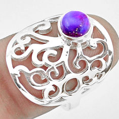1.39cts purple copper turquoise 925 silver solitaire ring size 6.5 p40311