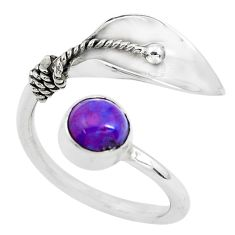 1.56cts purple copper turquoise silver adjustable solitaire ring size 7 p40345