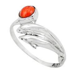 0.90cts red copper turquoise 925 silver dolphin solitaire ring size 8 p61783