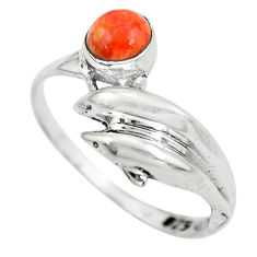 0.90cts red copper turquoise 925 silver dolphin solitaire ring size 8 p61786