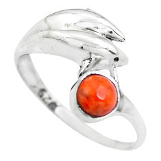 0.76cts red copper turquoise 925 silver dolphin solitaire ring size 7 p61791