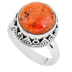6.48cts red copper turquoise 925 silver solitaire ring jewelry size 7.5 p56631
