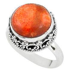 6.62cts red copper turquoise 925 silver solitaire ring jewelry size 7.5 p56633