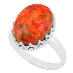 10.41cts red copper turquoise 925 silver solitaire ring jewelry size 9.5 p87906