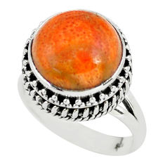 6.62cts red copper turquoise 925 sterling silver solitaire ring size 7 p56623