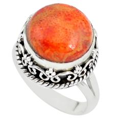 6.48cts red copper turquoise 925 sterling silver solitaire ring size 7 p56624