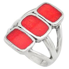 7.48gms red coral enamel 925 sterling silver ring jewelry size 6.5 c4215