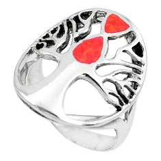 5.69gms red coral enamel 925 sterling silver tree of life ring size 8.5 c1579