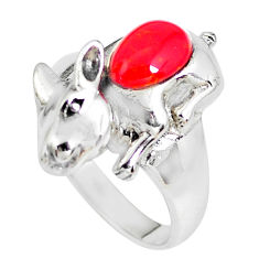 2.18cts red coral fancy 925 sterling silver ring jewelry size 8.5 c2959