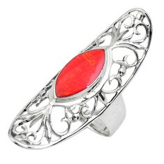 5.53cts red coral marquise 925 sterling silver ring jewelry size 7.5 c1572