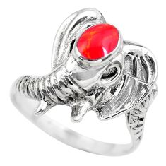 0.79cts red coral topaz 925 sterling silver elephant charm ring size 8 c2839