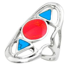 6.48gms red coral turquoise enamel 925 sterling silver ring jewelry size 8 c1561