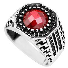 3.44cts red garnet quartz topaz 925 sterling silver mens ring size 9 c1049