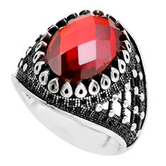6.42cts red garnet quartz topaz 925 sterling silver mens ring size 9.5 c1050