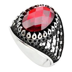 6.42cts red garnet quartz topaz 925 sterling silver mens ring size 9 c1086