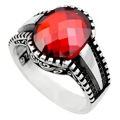 5.51cts red garnet quartz topaz 925 sterling silver mens ring size 8.5 c4008