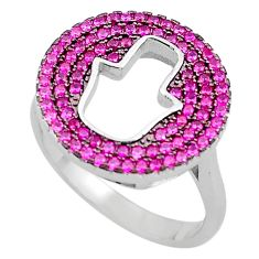 2.63cts red ruby (lab) 925 sterling silver hand of god hamsa ring size 7 c4133