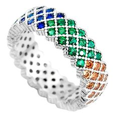 2.01cts red ruby (lab) emerald (lab) 925 sterling silver ring size 6.5 c2156
