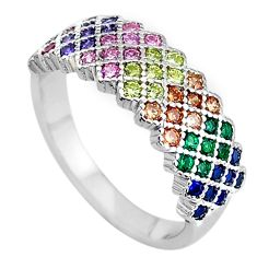 1.92cts red ruby (lab) emerald (lab) 925 sterling silver ring size 7 c2188
