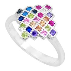 1.51cts red ruby (lab) emerald (lab) 925 sterling silver ring size 6 c2236