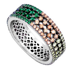 2.01cts red ruby (lab) emerald (lab) 925 sterling silver ring size 8 c5122