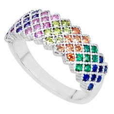 1.92cts red ruby (lab) emerald (lab) 925 sterling silver ring size 7 c5131