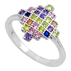 1.29cts red ruby (lab) emerald (lab) 925 sterling silver ring size 7 c5140