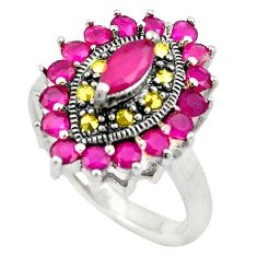 4.13cts red ruby (lab) marcasite 925 sterling silver ring jewelry size 7 c4153