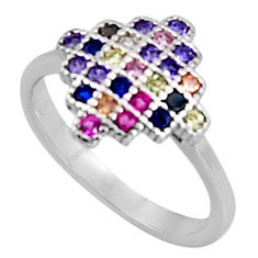 1.34cts red ruby (lab) sapphire (lab) 925 sterling silver ring size 5.5 c5415