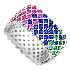 2.91cts red ruby (lab) sapphire (lab) 925 sterling silver ring size 7.5 c5437