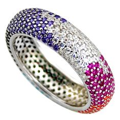 1.91cts red ruby (lab) sapphire (lab) 925 sterling silver ring size 6 c5449