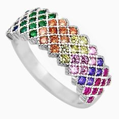 2.12cts red ruby (lab) sapphire (lab) 925 sterling silver ring size 7.5 c5451