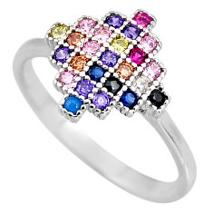 1.15cts red ruby (lab) sapphire (lab) 925 sterling silver ring size 8 c5455