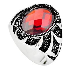6.42cts red ruby (lab) topaz 925 sterling silver mens ring jewelry size 9 c2915