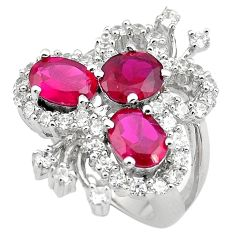 8.32cts red ruby (lab) topaz 925 sterling silver ring jewelry size 7 c4205