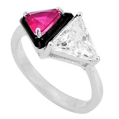 7.62cts red ruby (lab) topaz black enamel 925 sterling silver ring size 8 a96977