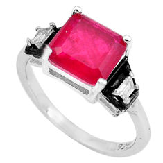 3.91cts red ruby (lab) topaz black enamel 925 sterling silver ring size 8 c2685