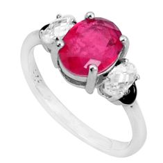 4.18cts red ruby (lab) topaz enamel 925 sterling silver ring size 6 a95789