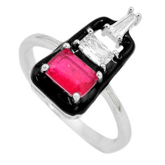3.83cts red ruby (lab) topaz enamel 925 sterling silver ring size 5.5 c2610