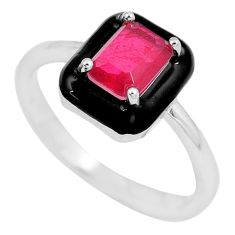 1.84cts red ruby (lab) topaz enamel 925 sterling silver ring size 7 c2611