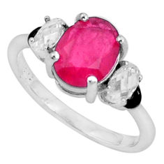 4.89cts red ruby (lab) topaz enamel 925 sterling silver ring size 6 c2631