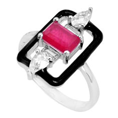 3.83cts red ruby (lab) topaz enamel 925 sterling silver ring size 7 c2658