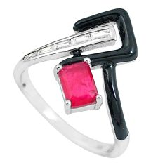 3.62cts red ruby (lab) topaz enamel 925 sterling silver ring size 8 c2660