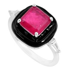 4.94cts red ruby (lab) topaz enamel 925 sterling silver ring size 8 c2687