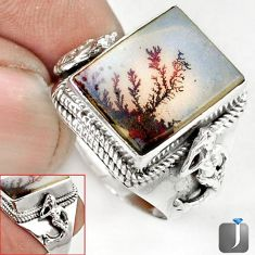 SCENIC RUSSIAN DENDRITIC AGATE OVAL 925 SILVER FAIRY MERMAID RINGSIZE 9.5 G52443
