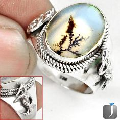 SCENIC RUSSIAN DENDRITIC AGATE OVAL 925 SILVER FAIRY MERMAID RING SIZE 9 G52447