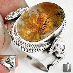 SCENIC RUSSIAN DENDRITIC AGATE OVAL 925 SILVER FAIRY MERMAID RING SIZE 10 G52452