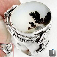 SCENIC RUSSIAN DENDRITIC AGATE OVAL 925 SILVER FAIRY MERMAID RING SIZE 9 G52454