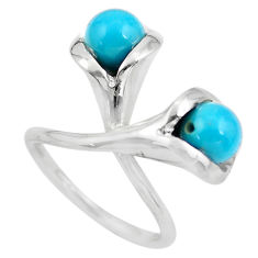 Sleeping beauty turquoise 925 silver adjustable solitaire ring size 5.5 p61636